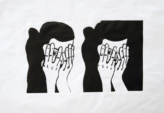 Adorjáni Márta: Napló, linóleum metszet, 41,5x30 cm, 2011